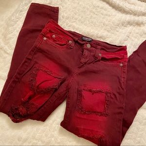 Red Distressed Jeans